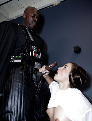 Interracial pornstar Allie Haze giving cosplay blowjob to huge black cock