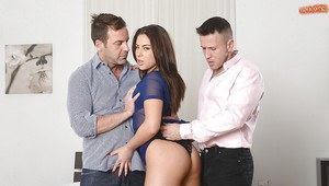 Latina brunette Nikki Waine takes DP before giving A2M blowjob