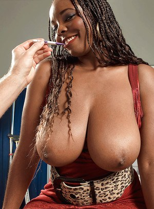Chesty black mom Stacy Adams giving titjob in hardcore Gonzo styled sex
