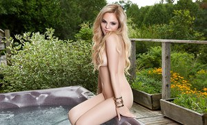Blonde teen babe Richelle Taylor modeling outdoors for centerfold shoot