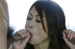 Japanese MMF threesome featuring hairy pussy of Sara Seori and sex toys