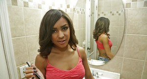 Amateur black babe Nicole flaunting big natural saggy tits in bathroom
