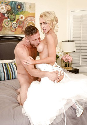 Stocking attired bride Alix Lynx takes hardcore sex on wedding night