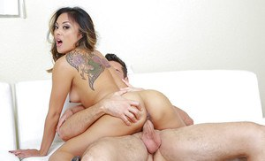 Sexy Asian MILF wife Kaylani Lei baring tiny boobs for hardcore sex