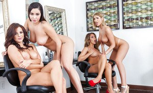 Big boobed chicks giving blowjob during reverse gangbang in office