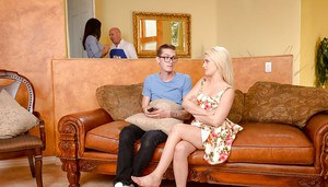 Mom and teen pornstars Isis Love and Aubrey Gold suck cock for cum in 3some