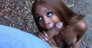 Black teen gets on knees outdoors for hardcore face fucking and cumshot