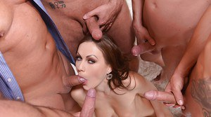 European slut Tina Kay sucks and fucks cock in gangbang for blowbang finale