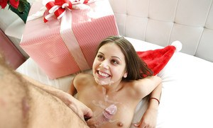Petite teen Lucy Doll taking hardcore fucking in knee socks at Christmas