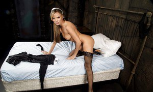 Petite blonde babe and cosplay pornstar Pristine Edge showing off bare ass