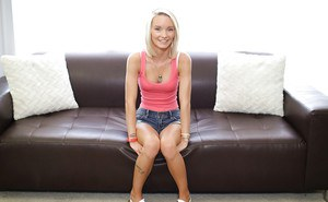 Skinny amateur babe Sammie Daniels spreading labia lips on casting couch