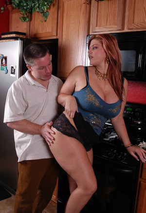 Busty older chubby jerks cock for cumshot during hardcore kitchen sex
