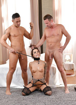 Inked fetish model Nikita Bellucci takes cum on face and DP in BDSM scene