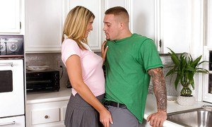 Busty amateur Lexii Sweet taking hardcore shaved cunt fucking in kitchen