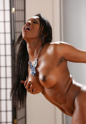 Busty black dime Jasmine Webb masturbating and toying until pissing herself