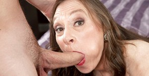 Hose clad granny with saggy tits gives bj before hardcore sex with younger