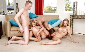 Busty moms lick pussy and ass in reverse gangbang sex action