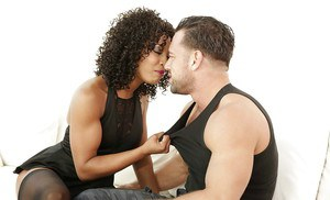 Nylon and heel attired black dime Misty Stone giving and receiving oral sex
