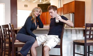 Busty blonde MILF Julia Ann getting drilled by big cock in kitchen