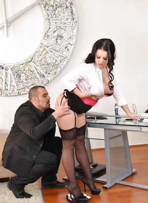 Chesty European office worker Themis Thunder engaging in hardcore sex