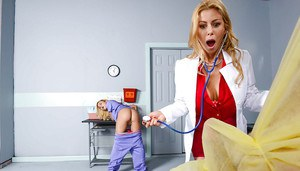 Blonde nurse and doctor duo licking cock and ass before sharing cumshot
