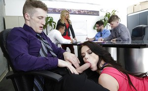 Brunette Ryan Smiles flaunts nice ass while giving bj during office meeting