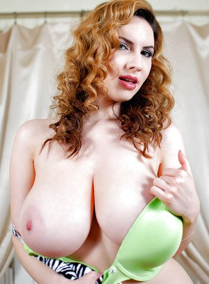 European solo girl Kay Loove revealing massive knockers for nipple play
