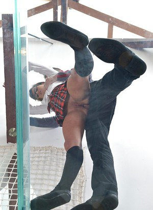 Glasses clad schoolgirl taking bare ass caning before anal toying and fuck