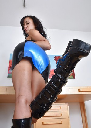 Asian mom Annie Cruz strutting in latex dress and knee high boots