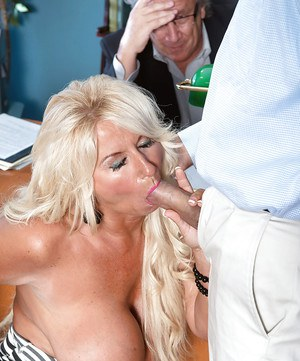 Buxom over 50 wife Annellise Croft taking cock before cuckold hubby