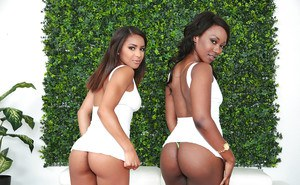 Ebony lesbians Skyler Nicole and Nicole Bexley bare brown asses and boobs