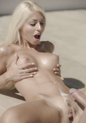 Busty Euro blonde Chloe Lacourt fucking outdoors in swimming pool