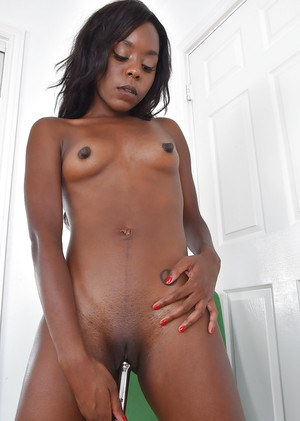 Aged black lady revealing tiny tits before toying and masturbation session