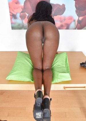 Ebony solo girl with small breasts and phat ass masturbating MILF pussy