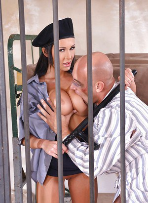Euro jail guard Patty Michova flaunting big tits before sex with prisoner