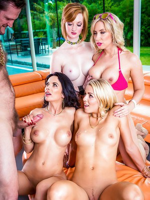 Busty party girls expose bare asses for anal sex during reverse gangbang