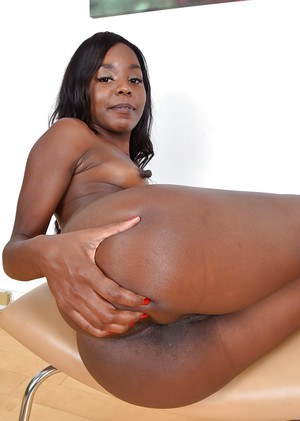 Ebony mom with puffy nipples slipping panties over round and brown ass