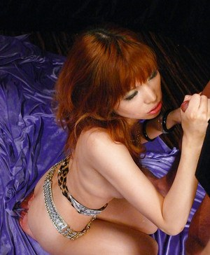 Busty Jap chick Ai Sakura takes jizz in mouth after enduring toying session