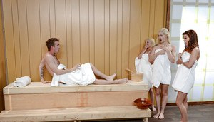 Teens Alaina Dawson, Elsa Jean and Piper Perri have all girl 3some in sauna