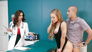 MILF and hubby engage busty doctor for threesome sex in examination room