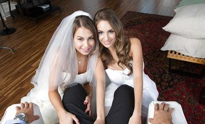 Kinky wedding night threesome sex with Kendall Kayden and Kimmy Granger