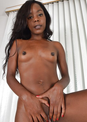 Ebony babe baring small breasts and sexy MILF ass underneath skirt