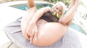 PAWG Sienna Day fingering asshole before anal insertion outdoors