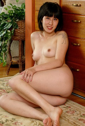 Brunette Asian first timer spreading hairy cooter for clitoris viewing