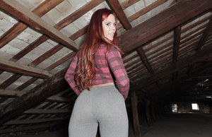 Redheaded Latina babe Gala Brown loosing big booty from yoga pants