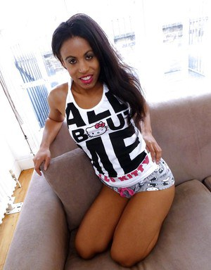 Amateur black babe unveiling tiny tits and ass before masturbating