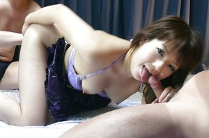 Petite Japanese slut Kurara Iijima dripping cum from hairy pussy