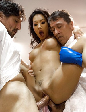 Asian pornstar Asa Akira taking hardcore DP and sucking cock in gangbang