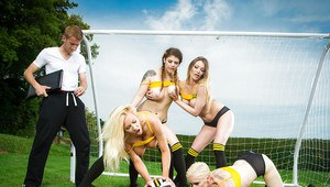 European soccer moms deliver reverse gangbang outdoors in sports uniforms