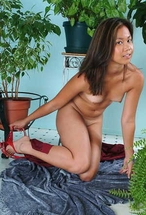 Asian first timer with small breasts pulling panties down legs